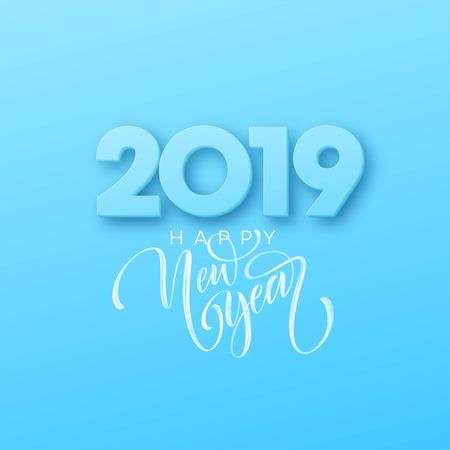 Hand drawn lettering Happy New Year 2019 on blue background. Vector illustration EPS10