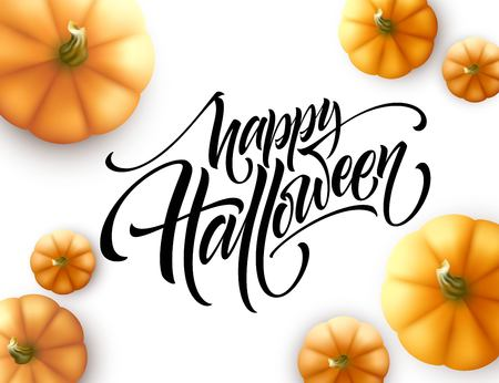 Halloween lettering with pumpkin isolated on white background. Vector illustration EPS10