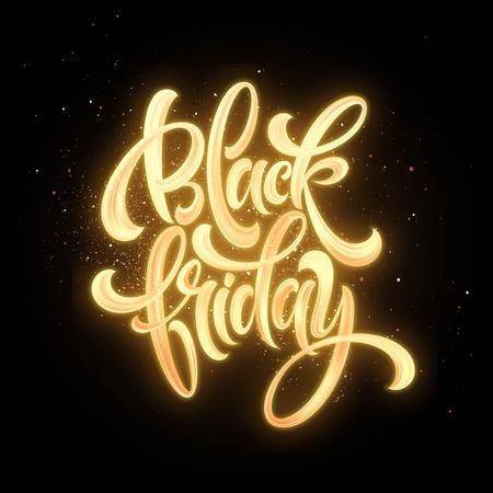 Black Friday Sale glow lettering. Vector illustration EPS10 일러스트