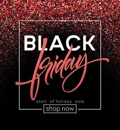 Black Friday lettering. Red glitter sparkle. Vector illustration EPS10