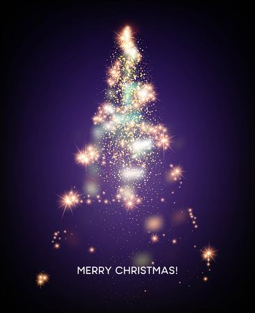 Shining Christmas tree. Light star background. Vector illustration EPS10