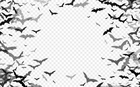 Schwarze Schattenbild der Fledermäuse lokalisiert auf transparentem Hintergrund. Traditionelles Halloween-Gestaltungselement. Vektorillustration EPS10 Standard-Bild - 108593742