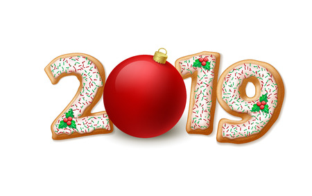 2019 New Year illustration. Gingerbread 2019 numbers, mistletoe berries and Xmas ball. Christmas and New Year gingerbread. Xmas cookies decoration. Greeting card, banner design. Isolated vector