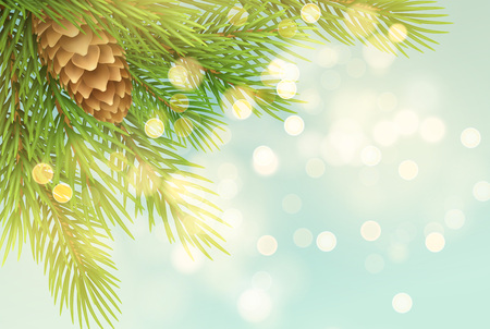 Realistic spruce branch with pinecone illustration. Fir-tree twig with bump on light background. Christmas decoration with round sparks. Postcard, banner design. Isolated vector illustration 向量圖像