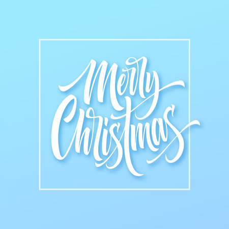 Merry Christmas hand drawn lettering in square frame. Xmas icy calligraphy. Christmas frozen lettering on blue background. Xmas framed calligraphy. Banner, poster design. Isolated vector illustration