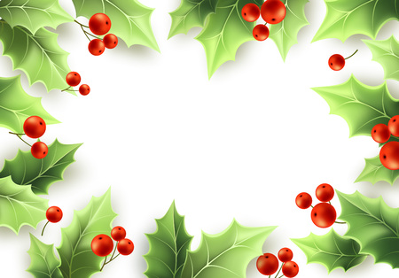 Christmas mistletoe green leaves and red berries frame. Merry Christmas and Happy New Year background design. Holly tree realistic frame. Mistletoe greeting card, banner design. Vector illustration