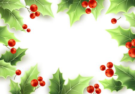Cornice di foglie verdi di vischio di Natale e bacche rosse. Buon Natale e felice anno nuovo sfondo design. Cornice realistica dell'albero di agrifoglio. Biglietto di auguri di vischio, banner design. Illustrazione vettoriale