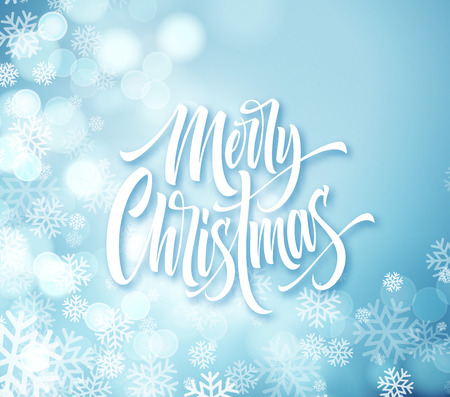 Merry Christmas hand drawn lettering. Xmas calligraphy with snowflakes and round sparks. Merry Christmas lettering on frozen background. Xmas greeting. Banner, poster, postcard design. Isolated vector