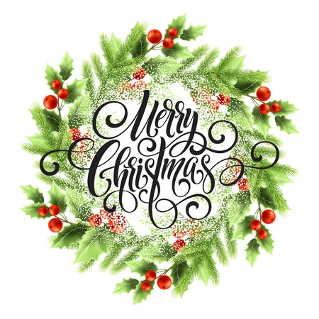 Merry Christmas lettering in mistletoe wreath. Christmas round frame with snow. Xmas mistletoe berries and fir branches wreath. Postcard and poster winter design. Isolated vector illustration Vectores