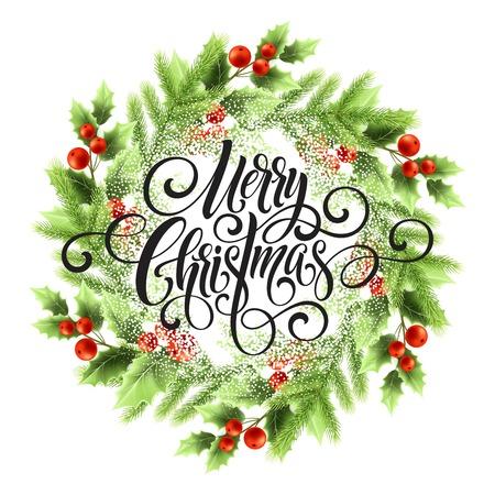 Merry Christmas belettering in maretak krans. Kerstmis rond frame met sneeuw. Xmas maretak bessen en dennentakken krans. Ansichtkaart en poster winterontwerp. Geïsoleerde vectorillustratie Vector Illustratie