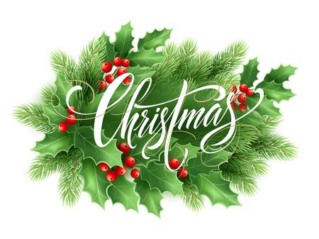Christmas lettering in holly tree wreath Vectores