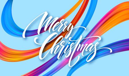 Buon Natale disegnato a mano lettering banner design. Saluto di Natale con nastri acrilici arcobaleno. Vividi pennellate di pittura ad olio. Buon Natale. Illustrazione vettoriale isolato