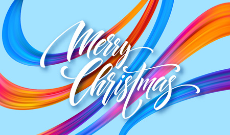 Merry Christmas hand drawn lettering banner design. Xmas greeting with rainbow acrylic ribbons. Vivid oil paint brush strokes. Merry Christmas. Isolated vector illustration