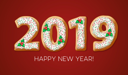 2019 gingerbread banner design. New Year cookie numbers with mistletoe berries, fudge and sprinkles. Christmas gingerbread on red background. Poster, postcard illustration. Isolated vector