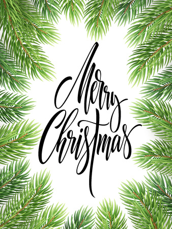 Merry Christmas hand drawn lettering in fir-tree branches frame. Xmas calligraphy on white background. Christmas lettering in spruce twigs realistic frame. Banner, poster design. Isolated vector Ilustrace