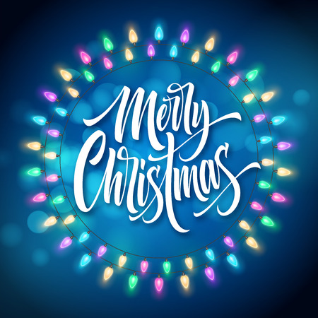 Merry Christmas lettering in gerland circle frame. Xmas string with glowing lights. Postcard, poster, banner design. Christmas greeting in garland round frame. Xmas decoration. Isolated vector Çizim
