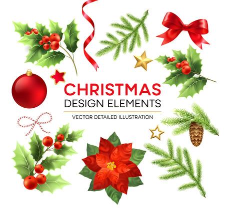 Insieme di elementi di design di Natale. Decorazioni e oggetti natalizi. Stella di Natale, ramo di abete, bacche di vischio, elementi di design di pigna. Palla di Natale, nastro e fiocco. Illustrazione dettagliata di vettore isolato