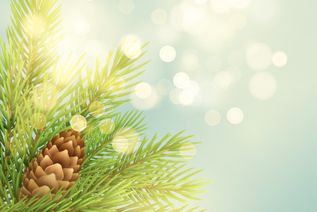 Realistic fir-tree branch with pinecone illustration. Spruce twig with bump on light background. Christmas decoration with glowing round sparks. Postcard, banner design. Isolated vector 版權商用圖片 - 108593791