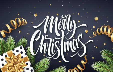 Merry Christmas hand drawn lettering greeting card design. Xmas calligraphy with realistic spruce branches and present. Christmas golden scroll ribbons, stars and confetti. Isolated vector