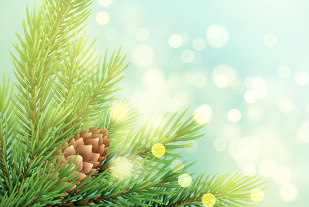 Realistic spruce branch with pinecone illustration. Fir-tree twig with bump on sparkling background. Christmas decoration with glowing lights. Postcard, banner design. Vector  イラスト・ベクター素材
