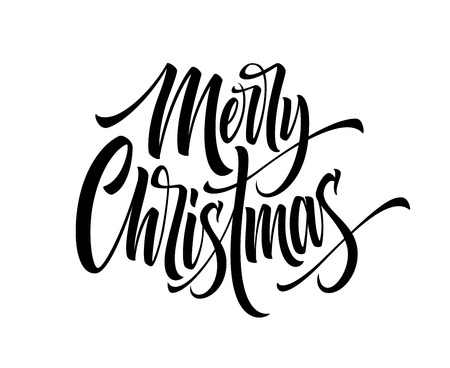 Merry Christmas hand drawn calligraphy. Xmas ink lettering. Black calligraphy on white background. Merry Christmas lettering. Banner, poster,postcard design. Isolated vector illustration Illustration