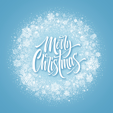 Merry Christmas lettering in snowy frame. Xmas confetti, frost dust and snowflakes round frame. Merry Christmas greeting isolated on frozen background. Postcard design. Vector illustration