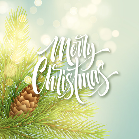 Merry Christmas white hand drawn lettering on light background. Xmas greeting with realistic fir branch and pinecone. Merry Christmas calligraphy with shiny spark. Postcard design. Vector illustration