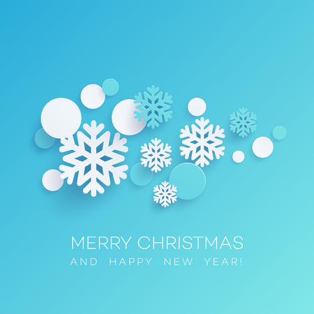 Snowflakes and round confetti paper cut illustration. Merry Christmas and Happy New Year greeting. Xmas decorations and paper cut elements. Poster, banner design. Isolated vector Banque d'images - 108593801