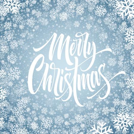 Joyeux Noël lettrage dessiné à la main dans le cadre de flocons de neige. Calligraphie glacée de Noël. Lettrage de Noël congelé dans les chutes de neige. Calligraphie isolée de Noël dans un cadre rond. Bannière, conception d'hiver d'affiche. Vecteur