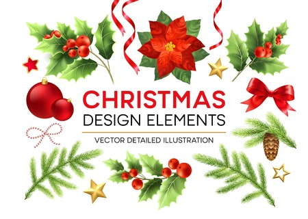 Christmas design elements set. Poinsettia, fir branch, mistletoe twigs with berries, pinecone design elements. Xmas decorations. Christmas ball, ribbon and bow. Isolated vector detailed illustration