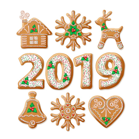Christmas gingerbread realistic illustrations set. 2019 New Year homemade biscuits collection. Xmas cookies decoration design elements. Christmas gingerbread with winter patterns. Isolated vector Standard-Bild - 107883751