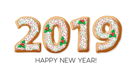 2019 gingerbread banner design. New Year cookie numbers with mistletoe berries, fudge and sprinkles. Christmas gingerbread. Poster, postcard design. 2019 Xmas cookies. Isolated vector illustration
