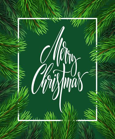 Merry Christmas hand drawn lettering in rectangular frame
