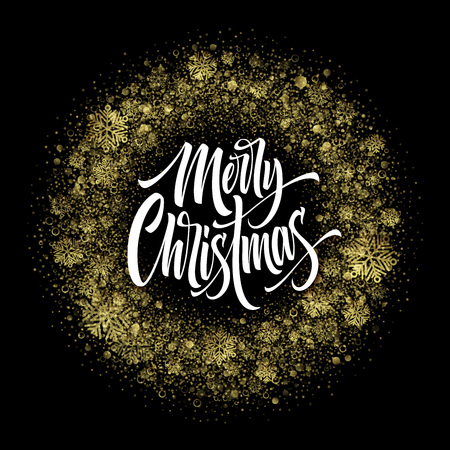 Merry Christmas lettering in glitter frame