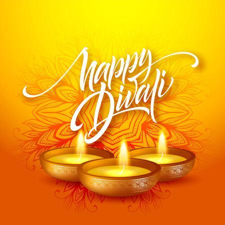 Happy Diwali festival of lights. Retro oil lamp on mandala background. Calligraphy hand lettering text. Vector illustration