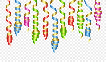 Party decorations color streamers or curling party ribbons. Vector illustration EPS140 Ilustração