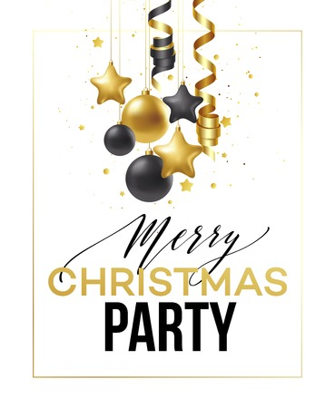 Merry Christmas card with gold and black balls. Çizim
