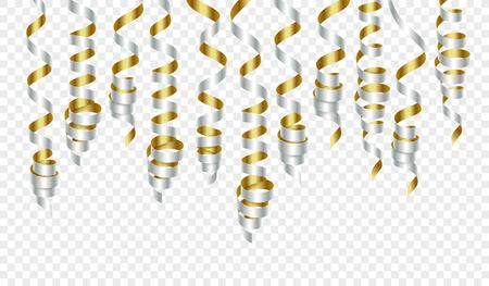 Party decorations golden streamers or curling party ribbons. Vector illustration EPS140