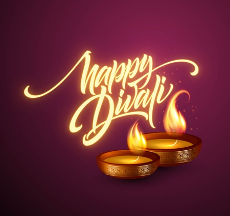Happy Diwali festival of lights. Retro oil lamp on background night sky.