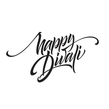 Happy divali festival of lights black calligraphy hand lettering text isolated on white background. Vector illustration Stockfoto - 108445823
