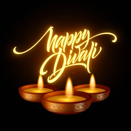 Happy Diwali festival of lights. Retro oil lamp on background night sky. Calligraphy hand lettering text. Vector illustration Illustration