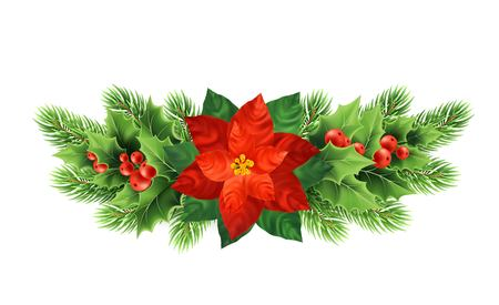 Christmas poinsettia flower realistic vector illustration. Xmas decorative plants. Holly twigs, red berries, poinsettia flower and fir branches Christmas decoration. Isolated banner, design element