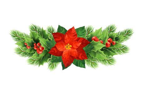 クリスマスポインセチア花リアルなベクトルイラスト。Xmas装飾植物。ホリー小枝、赤い果実、ポインセチアの花とモミの枝クリスマスの装飾。独立したバナー、デザイン要素