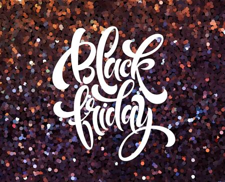 Black Friday banner vector template with glitter effect