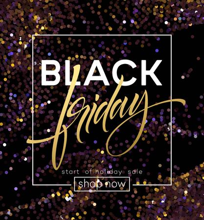 Black Friday poster template with glitter effect