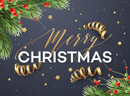 Merry Christmas greeting card template Stock Photo
