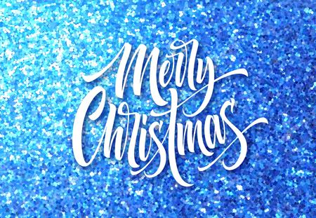 Merry Christmas greeting card glitter vector template