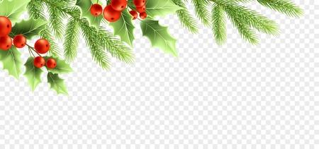 Natale decorazioni realistiche banner design. Rami di albero di agrifoglio con foglie verdi e bacche rosse, ramoscelli di abete su sfondo trasparente. Biglietto di auguri, elemento di design del poster. Vettore isolato di colore Vettoriali