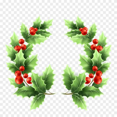 Christmas holly wreath realistic illustration. Tree branches with green leaves and red berries on transparent background. Decorative Xmas holly tree round twigs. Poster design element. Isolated vector