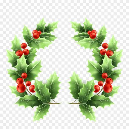 Illustration réaliste de guirlande de houx de Noël. Branches d'arbres avec des feuilles vertes et des baies rouges sur fond transparent. Brindilles rondes décoratives de houx de Noël. Élément de conception d'affiche. Vecteur isolé